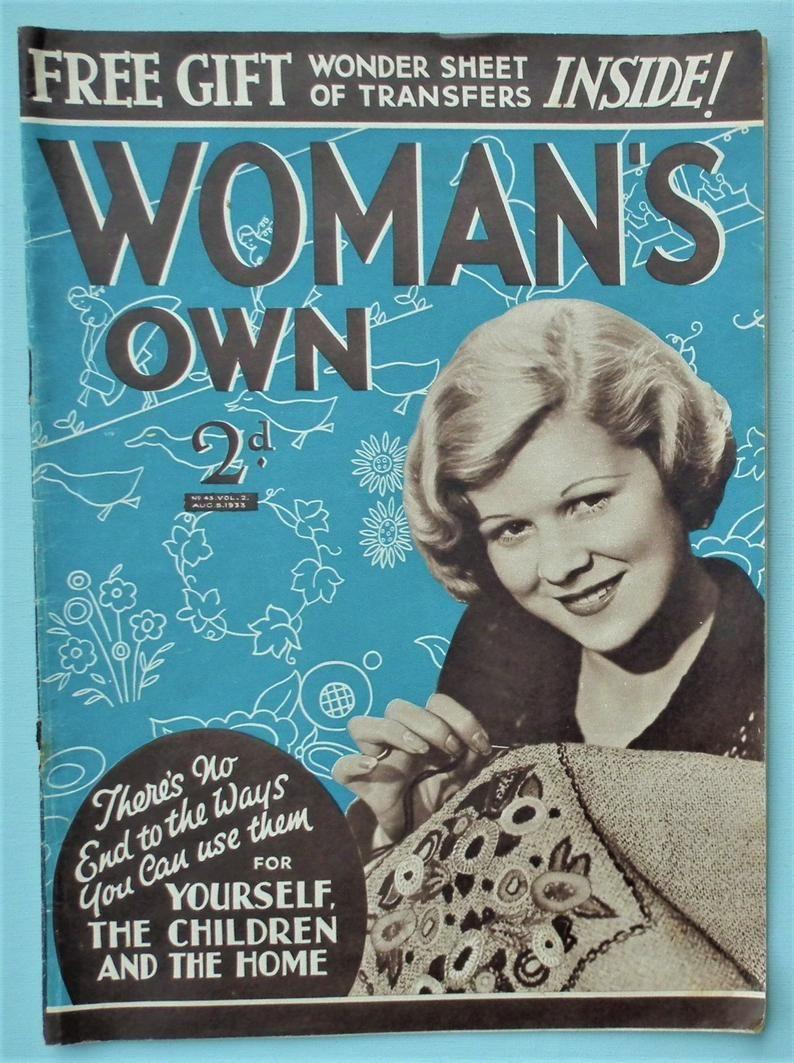 Woman's Own 1933 vintage 1930s women's magazine UK
