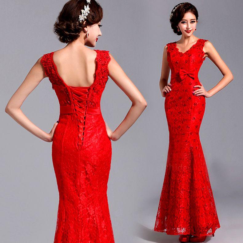 Cap sleeve red lace wedding cheongsam mermaid trailing prom dress ...