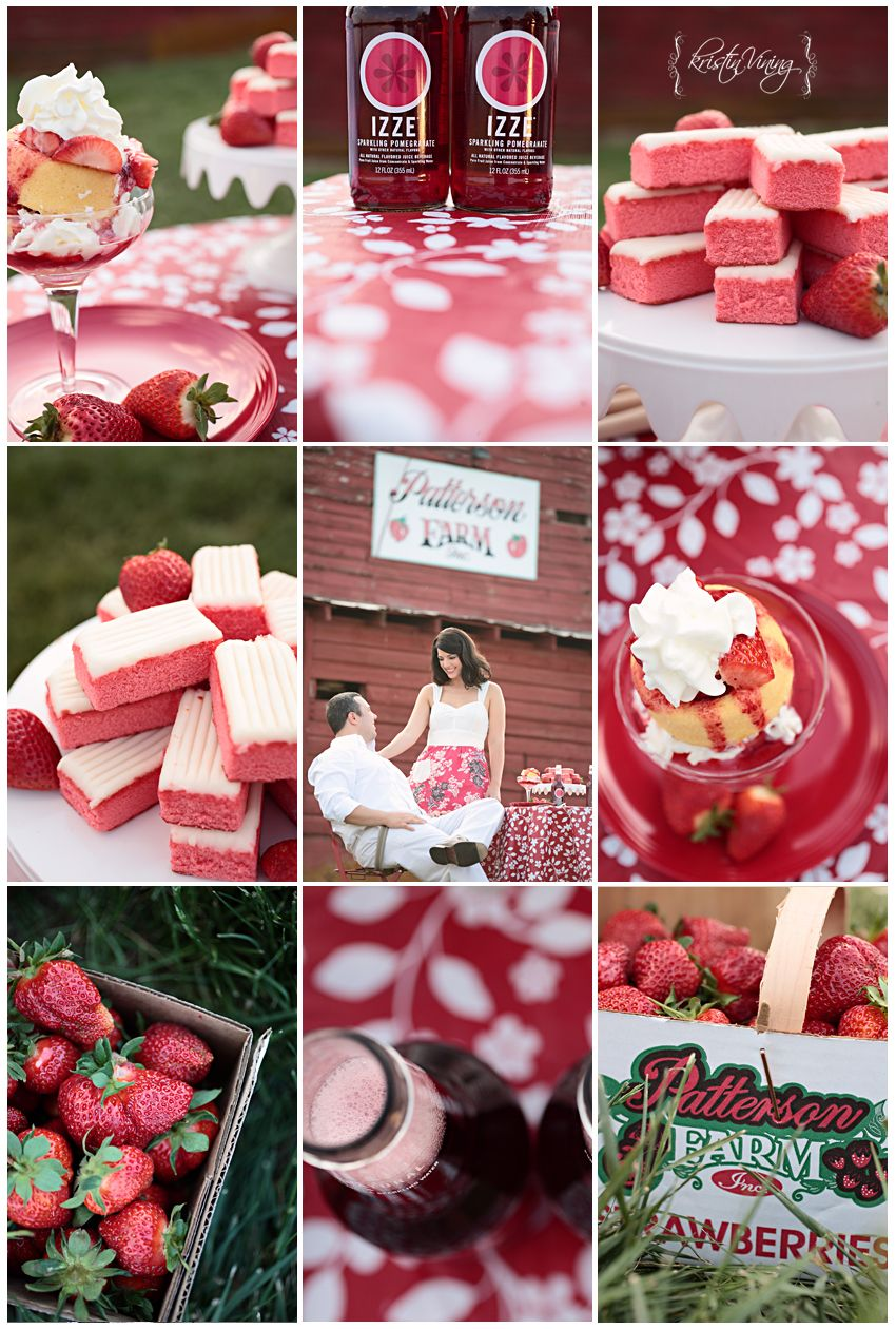 red, strawberry farm, engagement session copyright @Kristin Vining ...