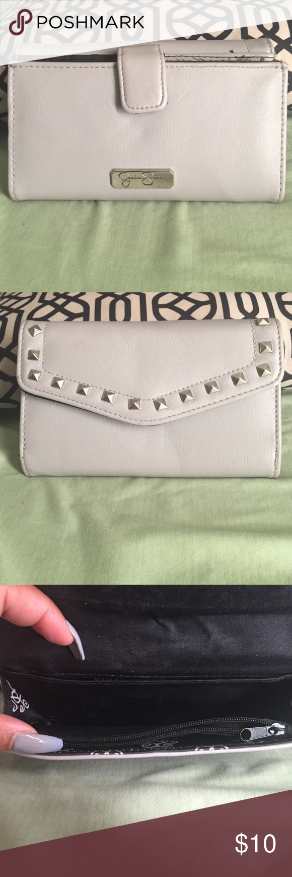 Jessica Simpson wallet Grey with black interior silver studs Jessica Simpson Bags Wallets