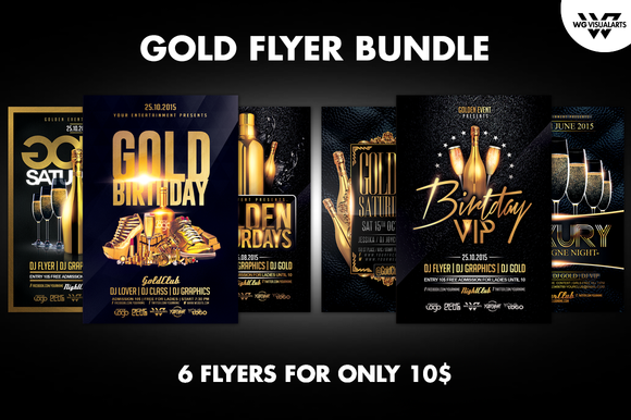 GOLD Flyer Template Bundle by WG-VISUALARTS on Creative Market