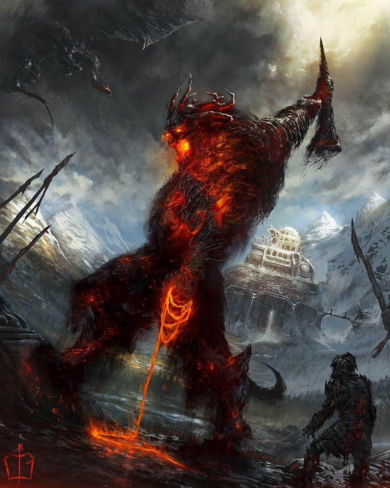 The Fall Of Gondolin By Calglayan Kaya Goksoy Posted By U Maparyetal To R Fantasyart Tolkien Art Epic Art Creature Art