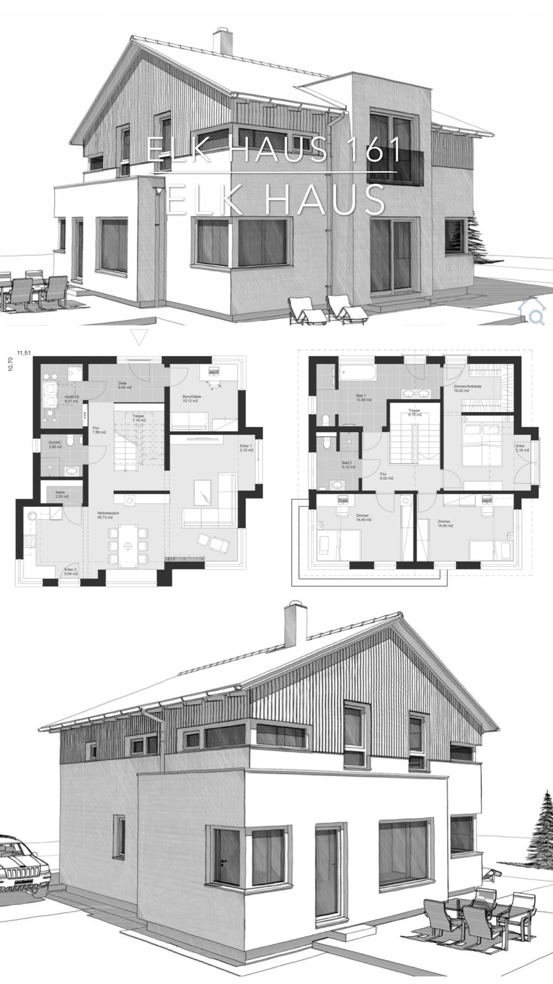 Modernes Einfamilienhaus mit Holz Putz Fassade & Satteldach Architektur Haus Ideen mit Grundriss