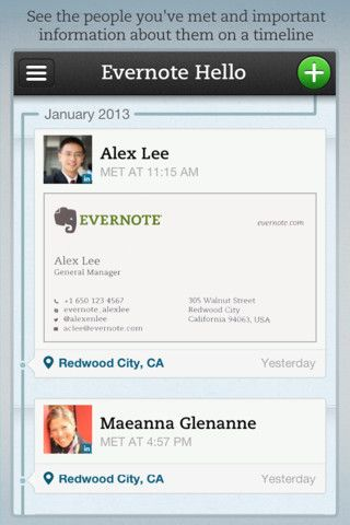 Evernote launches hello 20 to get smarter about the people behind hello 20 app evernote reheart Gallery
