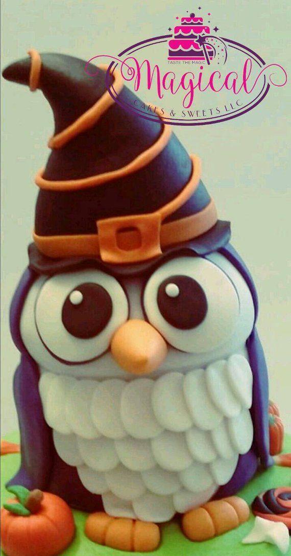 Edible Halloween Owl Cake Topper Fondant Toppers Pinterest
