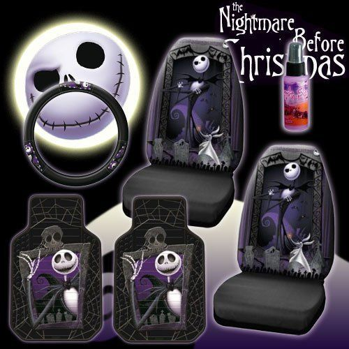New 6 Pieces Disney Nightmare Before Christmas Jack Skellington Graveyard Car Auto Accessories Interior Combo Kit Gift Set