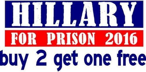 Hillary Clinton For Prison 2016 Red White /& Blue Bumper Sticker Decal