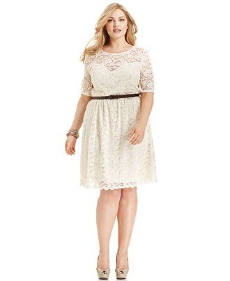 American Rag Plus Size Dress, Short-Sleeve Lace Belted ...