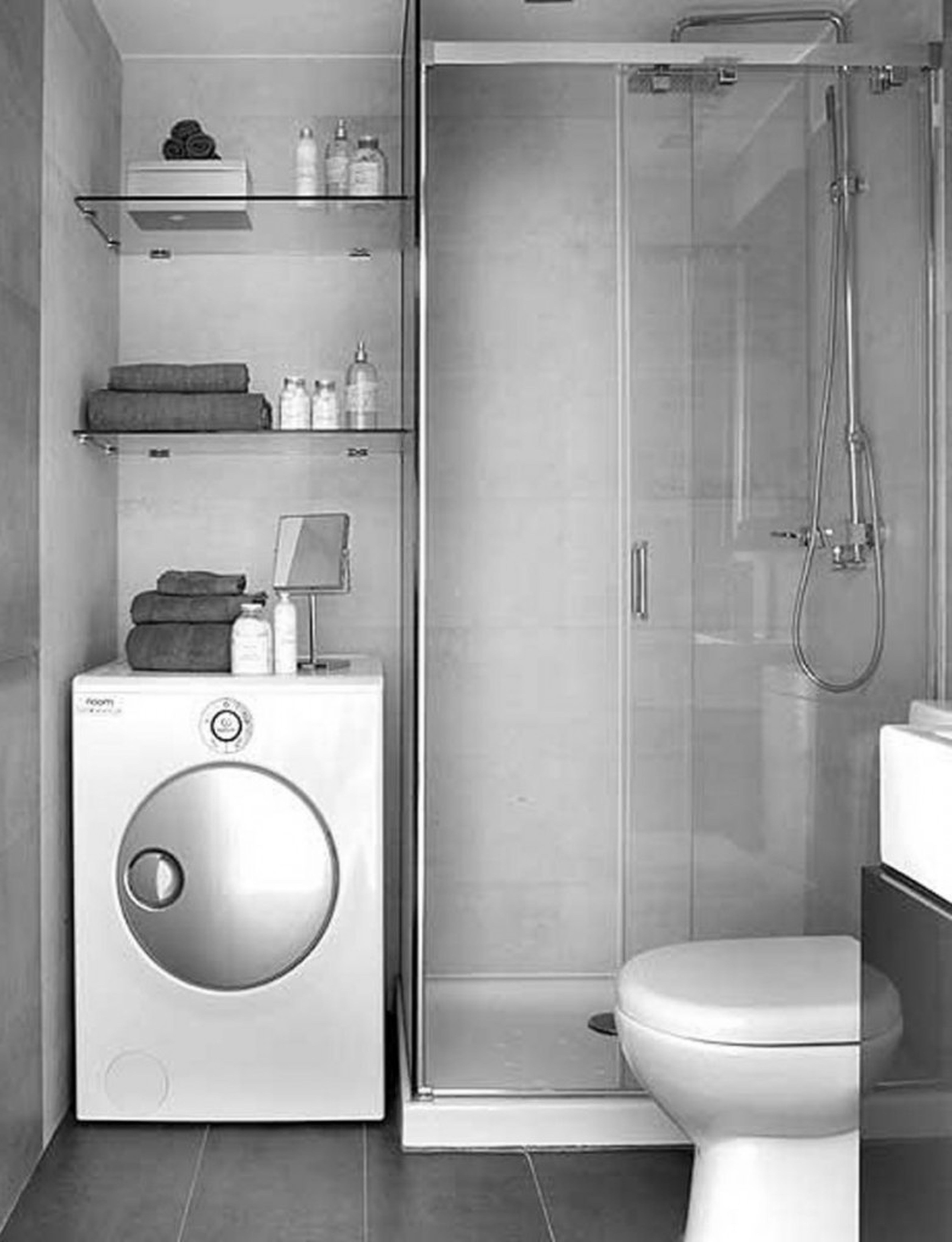Popular Small Space Modern Grey Bathrooms With Washing Machine Shelves Cabinets Also Small V Modern Small Bathrooms Small Bathroom Bathroom Design Small Modern