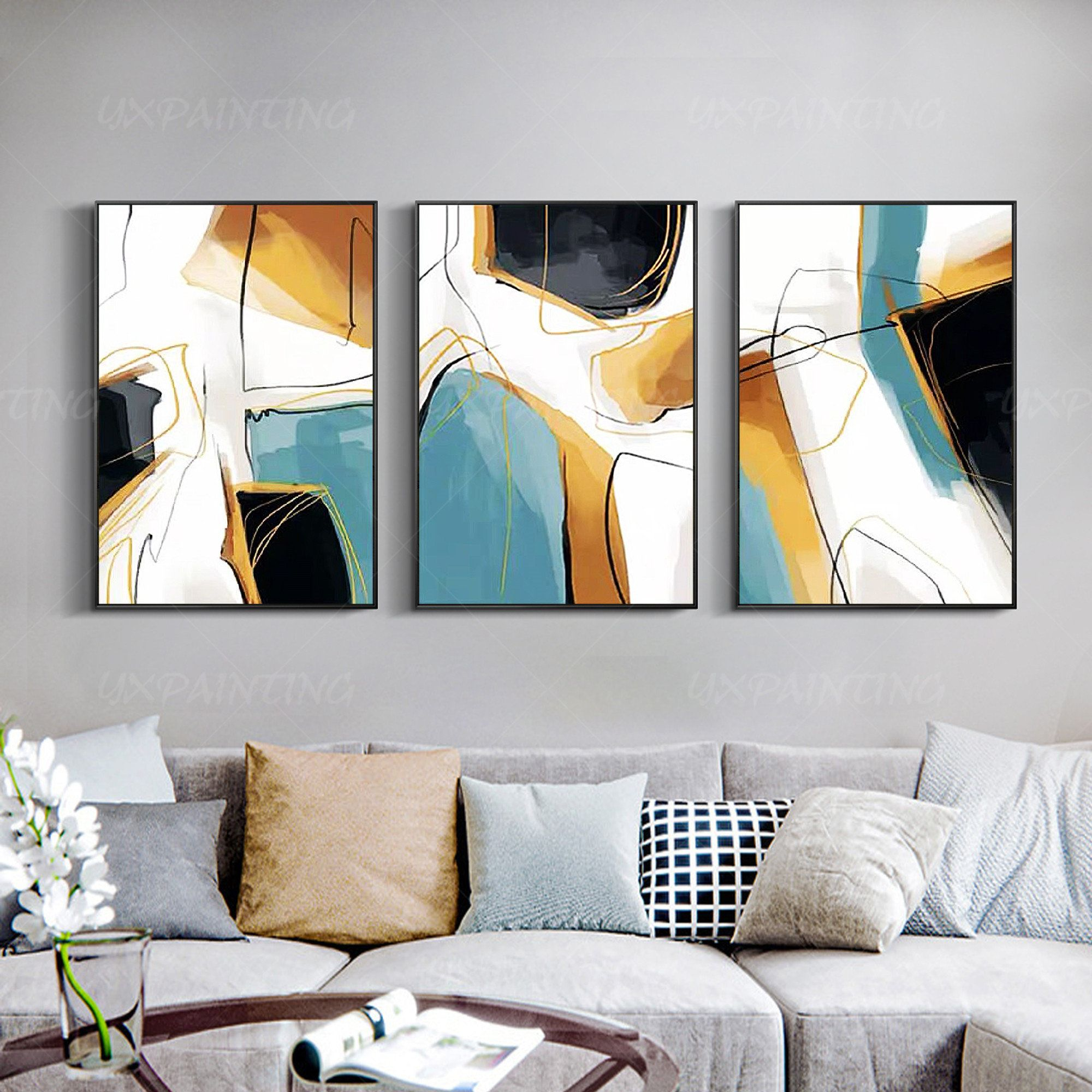 Framed Wall Art Geometric Painting Teal Blue Art Set Of 3 Wall Etsy Geometric Painting Framed Wall Art Geometric Wall Art