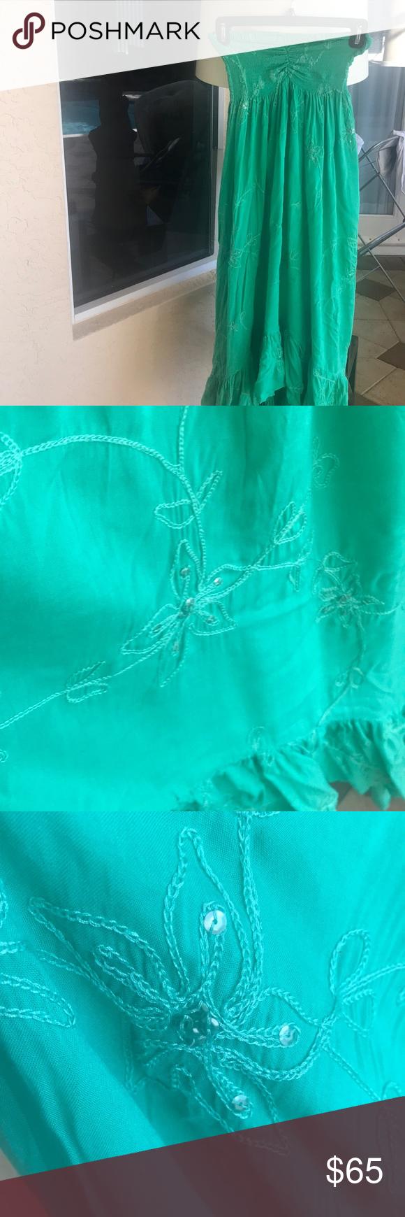 Green dress short in front long in back  Beautiful green sequin sundress  My Posh Closet  Pinterest  Sequins