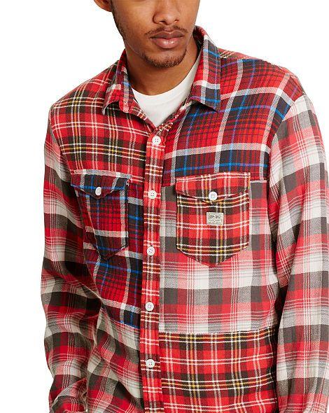 Patchwork Cotton Sport Shirt - Standard Fit  Casual Shirts…