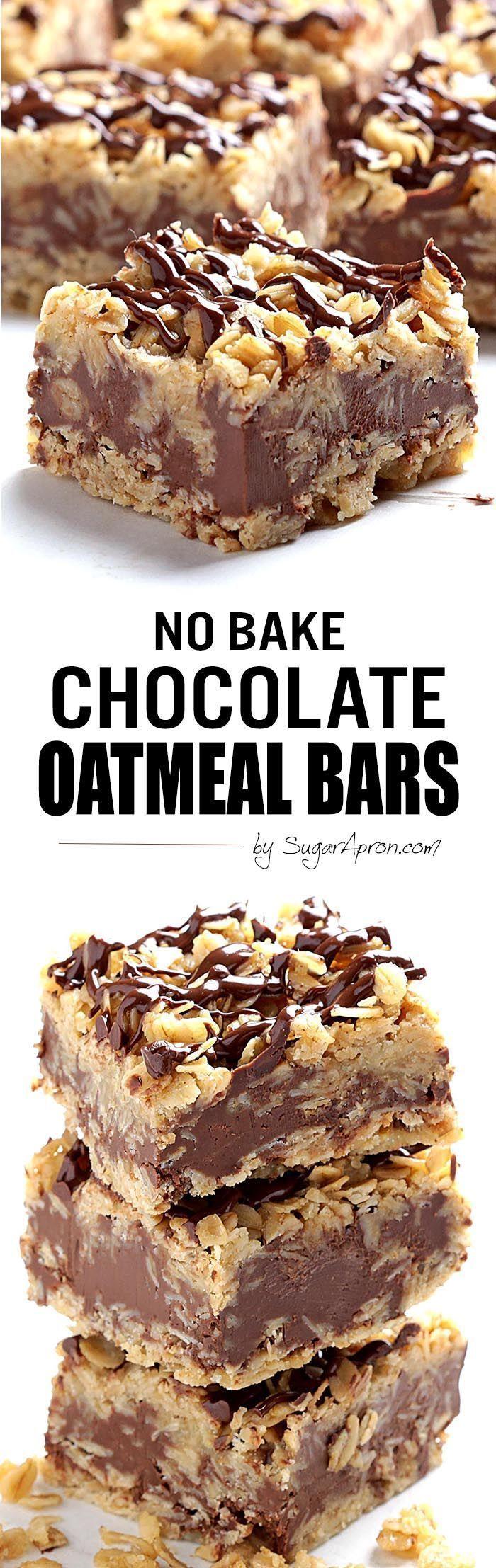 No Bake Chocolate Oatmeal Bars – Sugar Apron