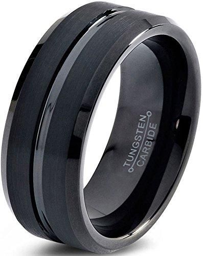 10mm Tungsten Wedding Band Ring Comfort Fit Black Beveled Edge Polished Brushed In 2019 Mens Wedding Band Tungsten Wedding Bands Wedding Ring Bands Weddi
