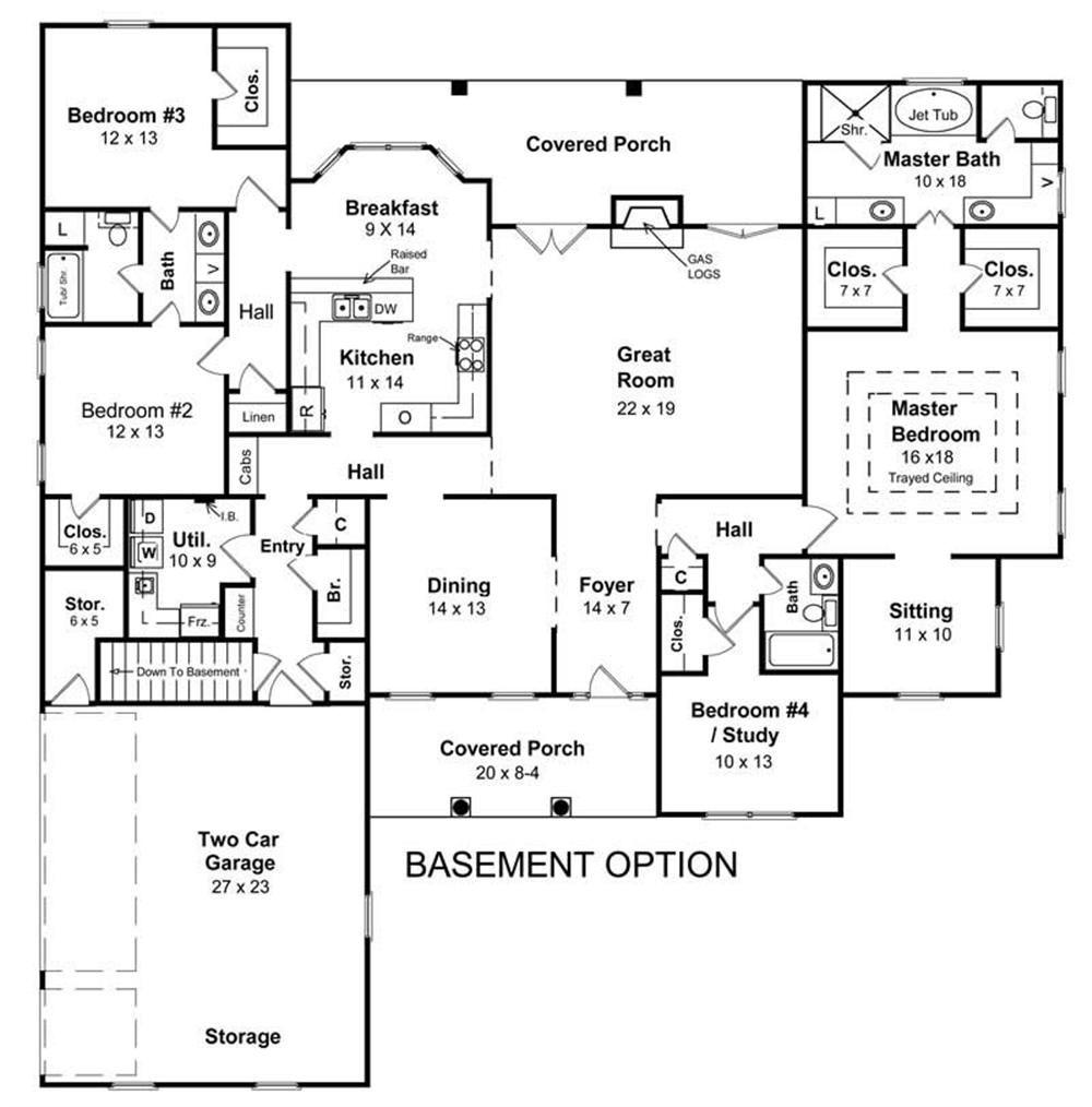 141 1130 Floor Plan W Basement Option Denah Lantai Rumah Denah Rumah The Plan