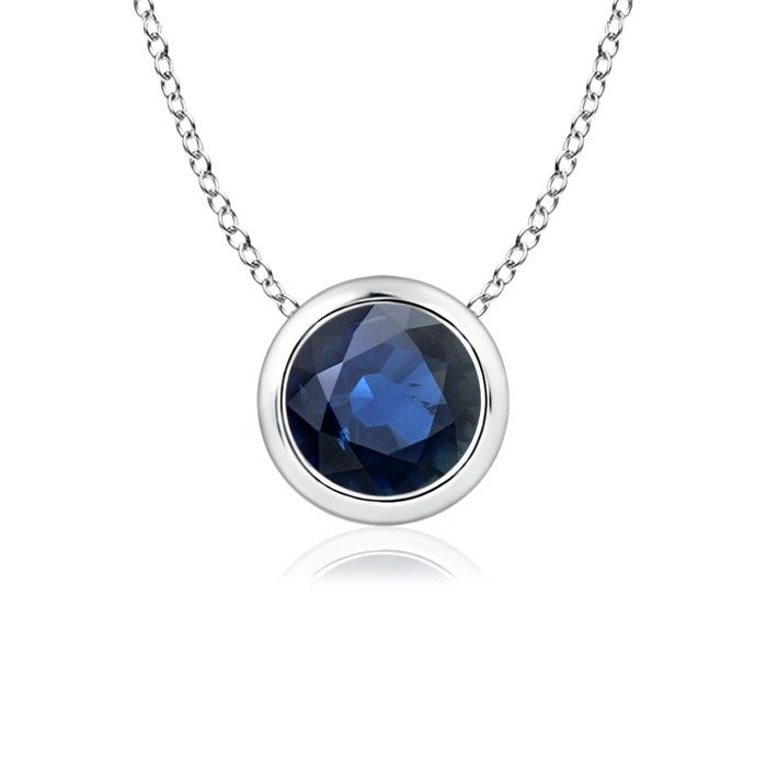 Angara Bezel-Set Round Natural Sapphire Pendant in Platinum 3IE2Uk9