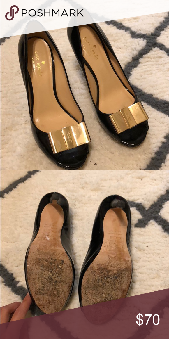 Kate Spade Heels Black with gold bow