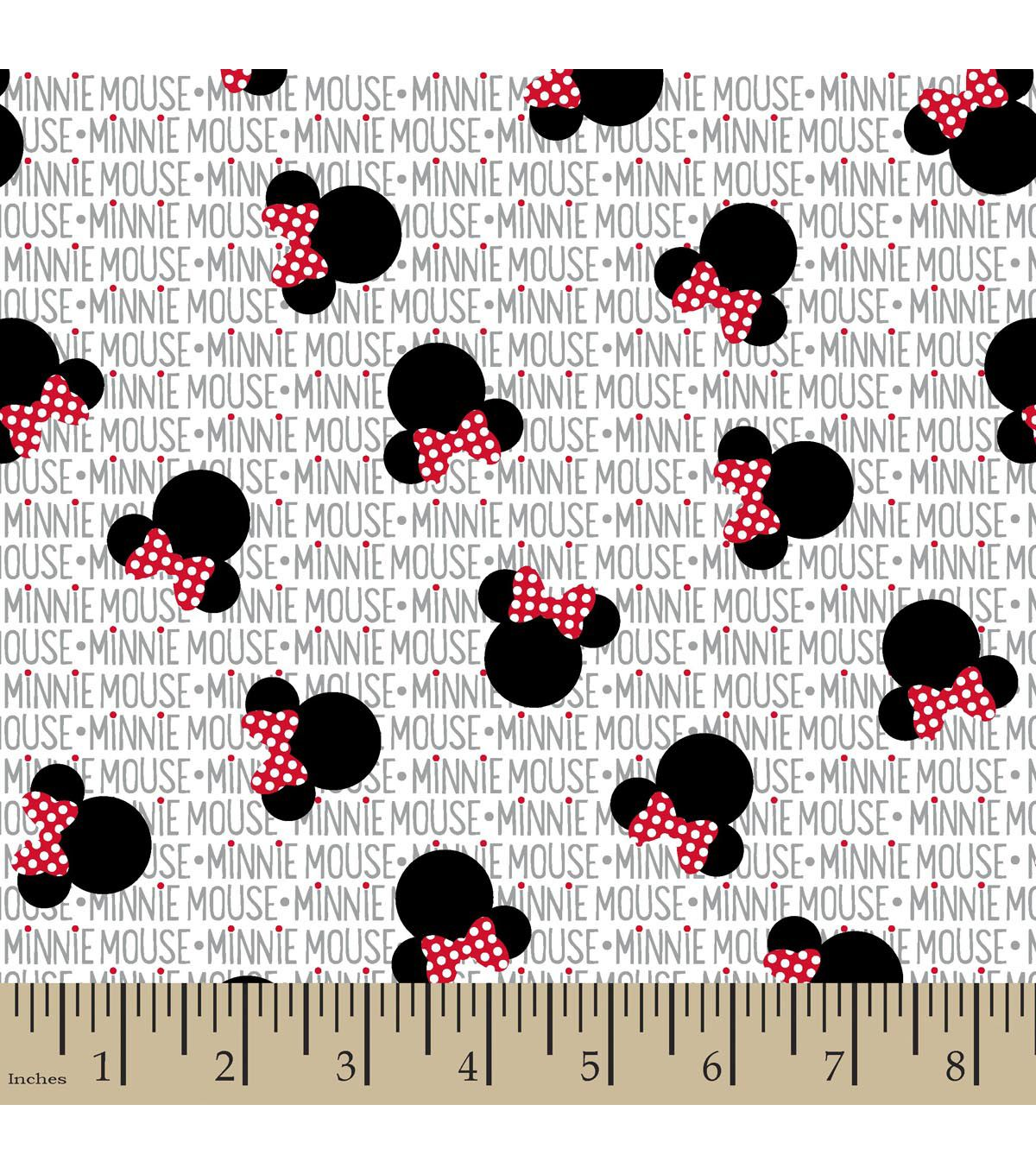 Disney 174 Minnie Mouse Heads And Bows Cotton Fabric