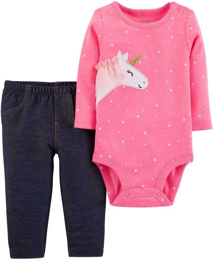 e88c3219458 Baby Girl Carter s Unicorn Bodysuit   Jeggings Set