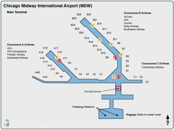 Map Of Midway Airport Chicago Midway Airport Terminal Map | Non Stop from ICT | Midway