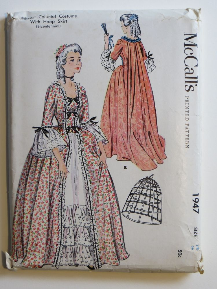 McCall's Misses Colonial Costume W Hoop Skirt Bicentennial Magnificent Colonial Dress Patterns