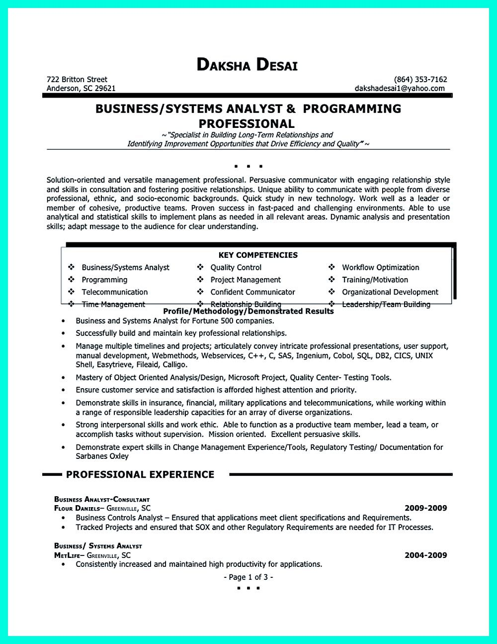 Business Systems Analyst Resume Data Analyst Resume Will Describe Your Professional Profile