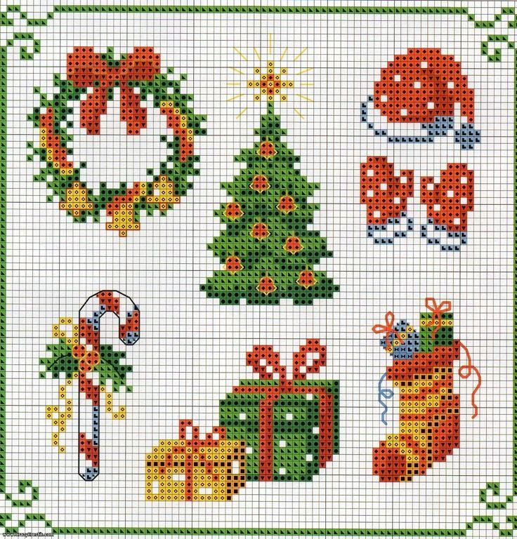 Patron de fresas en punto de cruz para manteles - Manteles para navidad ...