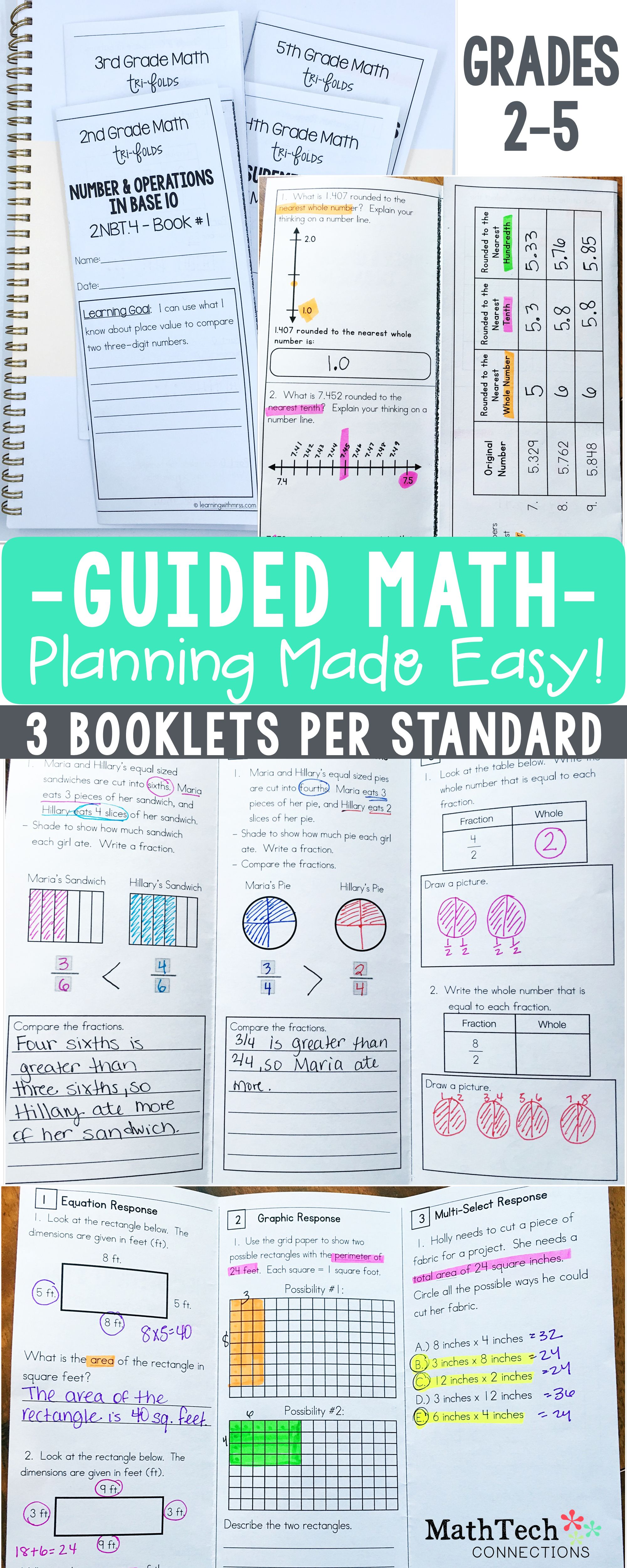 Plan Your Guided Math Small Groups With These Common Core Aligned Tri Folds 3 Booklets Per