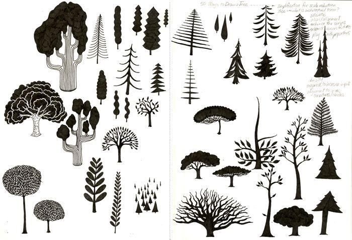 Erilainen viiva (taustaa) - 50 tapaa piirtää puu. | 3.lk piirustus / sommittelu | Pinterest ...