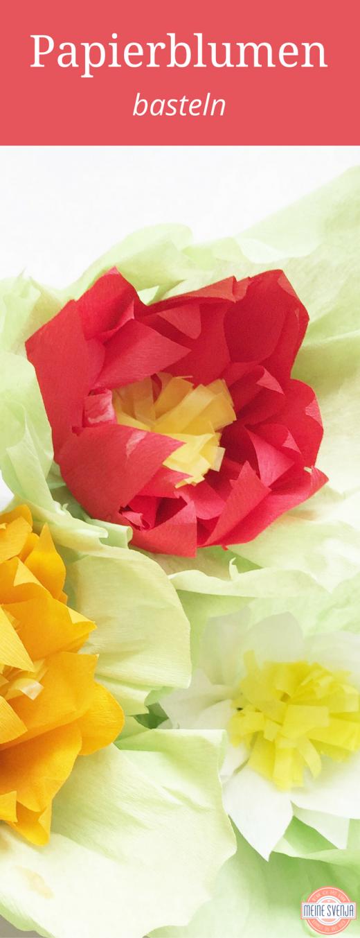 Blumen basteln zur fr hlingsdeko basteln mit kindern blumen basteln basteln und - Blumen aus krepppapier basteln mit kindern ...