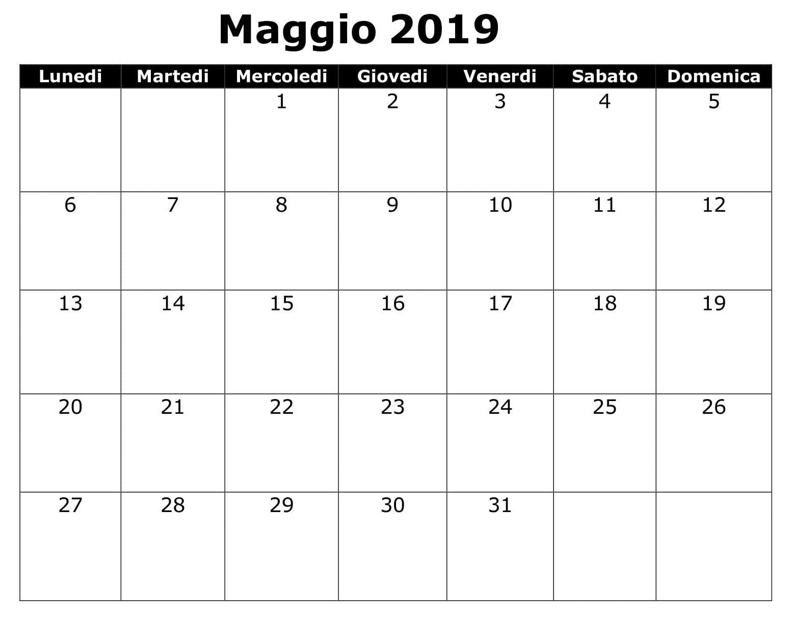 Gratuito Calendario Maggio 2019 | Calendario, Maggio, Mercoledì