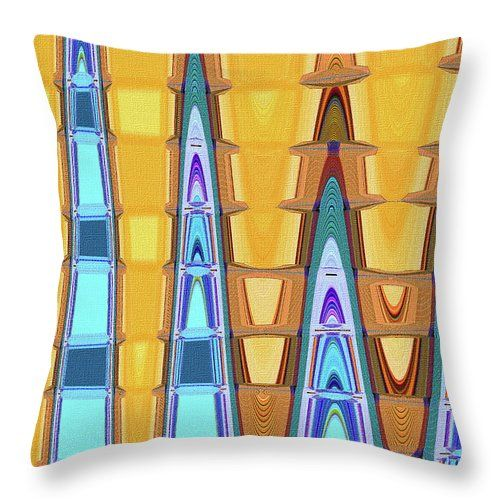 """Tempe Center For The Arts Abstract Throw Pillow by Tom Janca.  Our throw pillows are made from 100% spun polyester poplin fabric and add a stylish statement to any room.  Pillows are available in sizes from 14"""" x 14"""" up to 26"""" x 26"""".  Each pillow is printed on both sides (same image) and includes a concealed zipper and removable insert (if selected) for easy cleaning."""