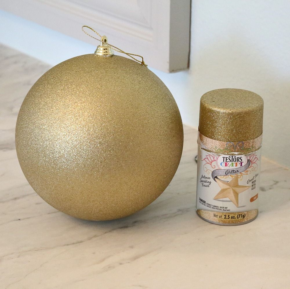 Quick Tricks Christmas Decor Paint Projects Giant Christmas Ornaments Gold Glitter Spray Paint Glitter Spray Paint Diy