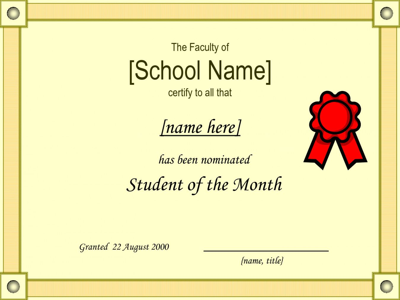 Browse Our Example Of Student Of The Month Certificate Template Student Of The Month Student Certificates Certificate Templates Student of the month award template