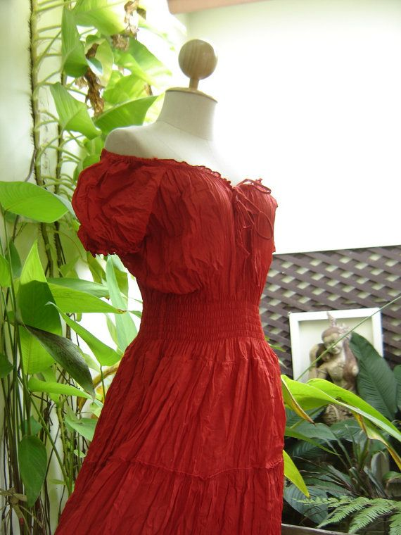 Princess Cotton Dress II  Red by fantasyclothes on Etsy, $48.00