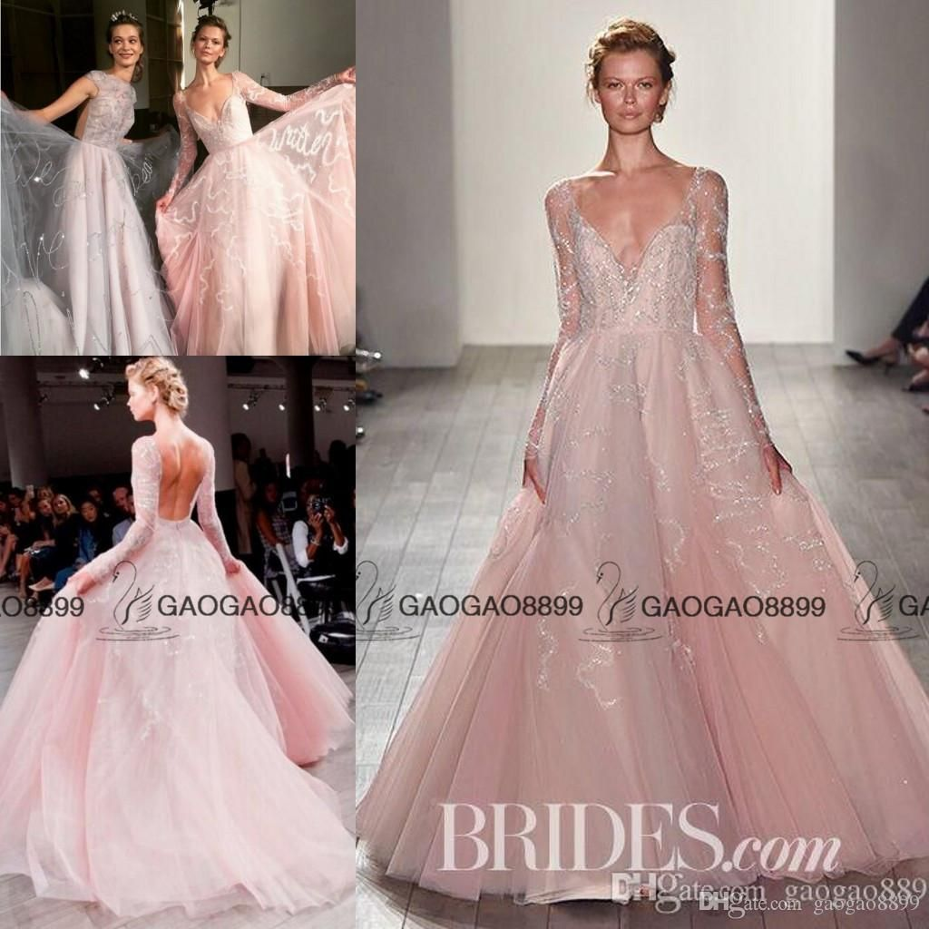 Hayley Paige 2017 Blush Pink Princess Wedding Dresses With Long ...