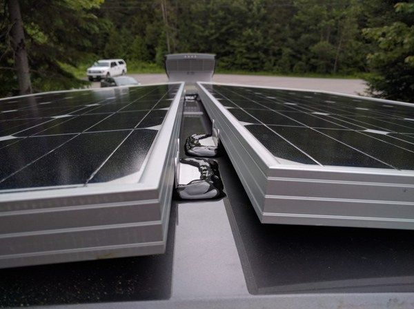 How To Install Solar Panels On A Camper Van Conversion With 3m Vhb Tape No Holes Faroutride Solar Panels Best Solar Panels Solar Panel Installation