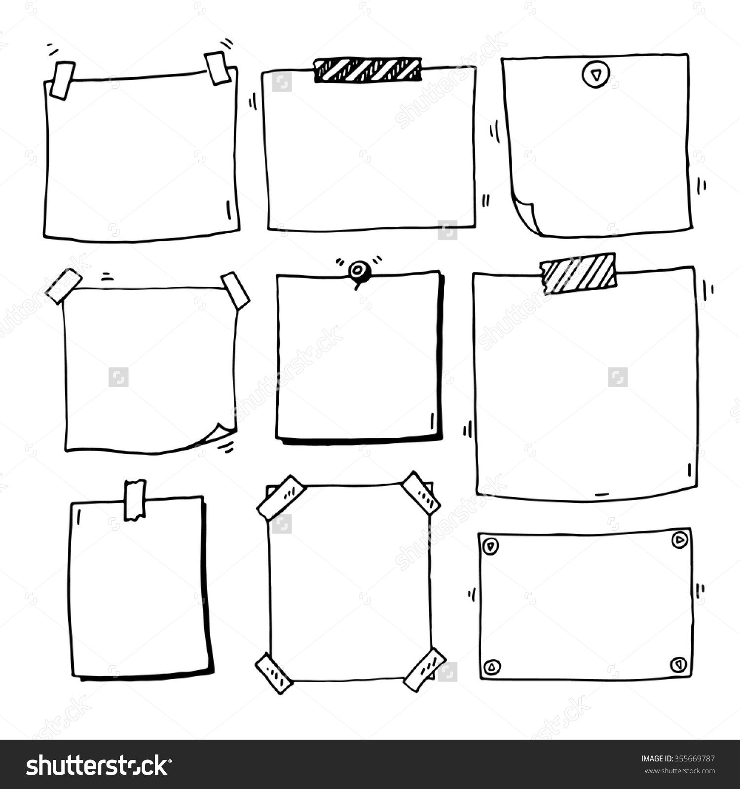 Hand Drawn Doodle Notepaper For Messages Set Stock Vector