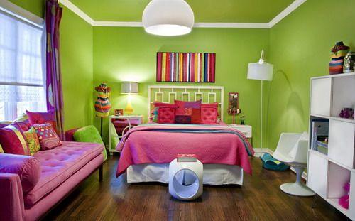 Genial Small Teen Girls Bedroom Design Green Room Wall Paint Colors Ideas