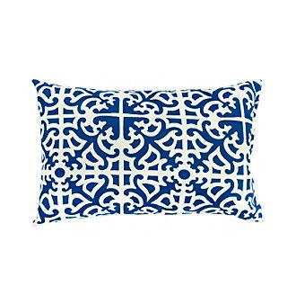 Greendale Home Fashions Set of Two Indigo Print Rectangle Outdoor Accent Pillows