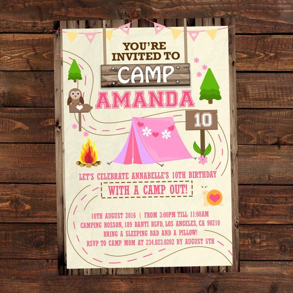 printable camping party invitations for girls summer camp