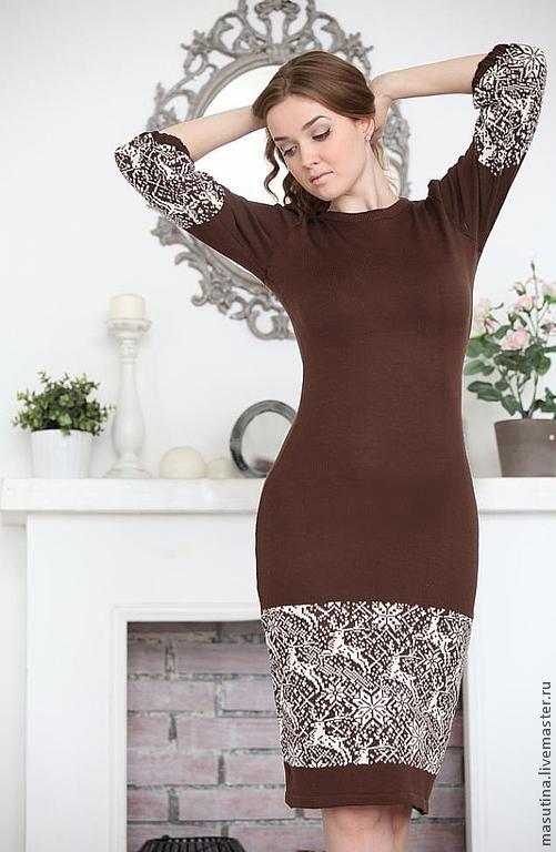 """Купить Платье """"Страна Оления"""" - коричневый, Платье с оленями, вязаное платье, теплое платье"""