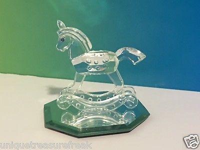 VINTAGE SWAROVSKI CRYSTAL GLASS FIGURINE W/ STAND ROCKING HORSE TOY PONY RETIRED