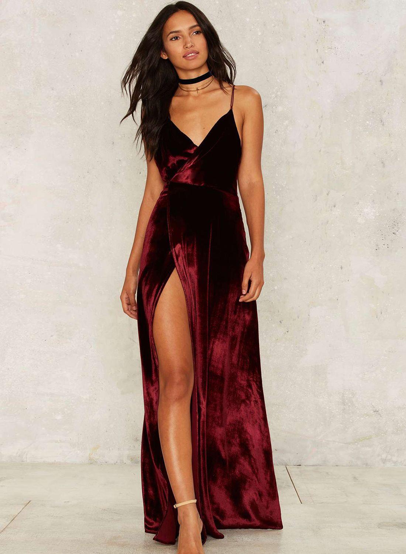 V neck backless velvet prom dress prom fall fashion and clothing