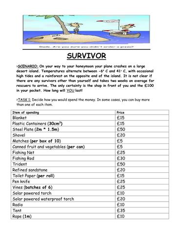 Desert Island Survival - Can you survive with £100? | survivor