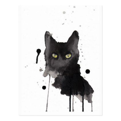 Black Cat Watercolor Postcard