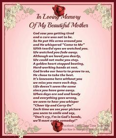I love and miss you so much mom | In Loving Memory (MoM