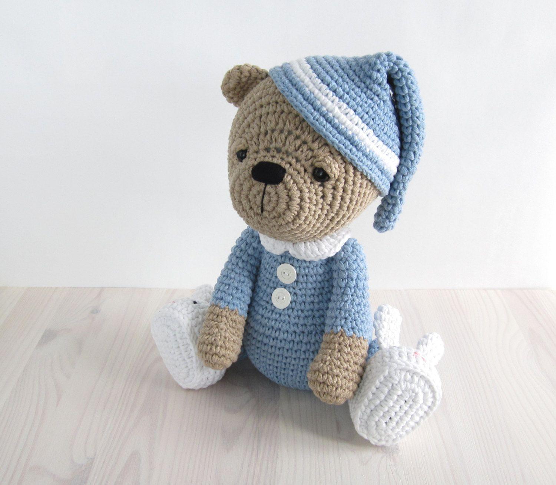Pattern sleepy teddy bear in pajamas and bunny slippers crochet pattern sleepy teddy bear in pajamas and bunny slippers crochet pattern amigurumi tutorial bankloansurffo Choice Image