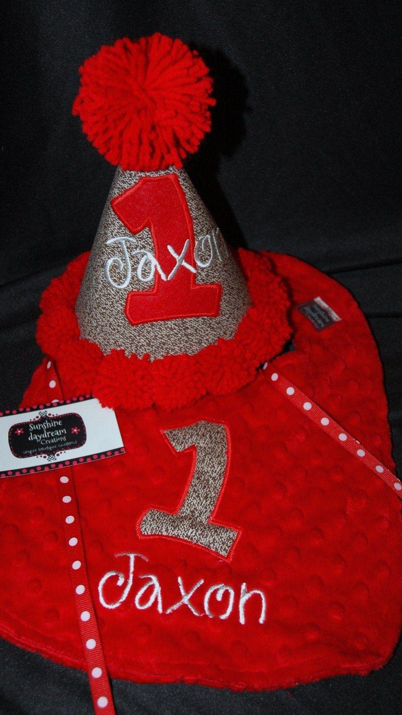 Monkey Boy 1st First Birthday Hat And Bib Set Red Brown 4800 Via Etsy