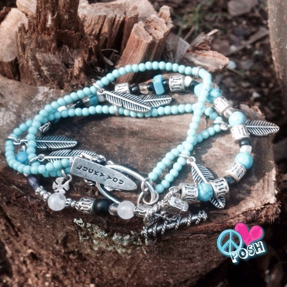 ☮ Lucky You Bracelet ☮ Beautiful Turquoise with Silver Leaf and  lucky 4 Leaf Clover Bracelet ( Check out COOL Clasp ) , Combined with Silver Turquoise Beaded Bracelet ☮   ✌ 2 for 1  and so Gorgeous Together ✌️ NO TRADE Lucky You Jewelry Bracelets